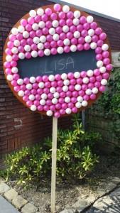 GeboortebordArnhem.nl - 3D beschuitbord met roze muisjes