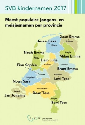 Populaire kindernamen in 2017 per provincie